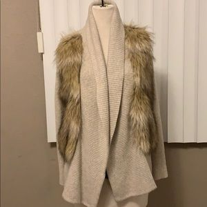 Ann Taylor tan fur coat / cardigan